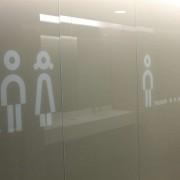 Wandverglasung l ToilettenanlagenHauptbahnhof Zug l Glas 8 mm ESG mit Piktogrammen kermischer Siebdruck l Farbe NCS