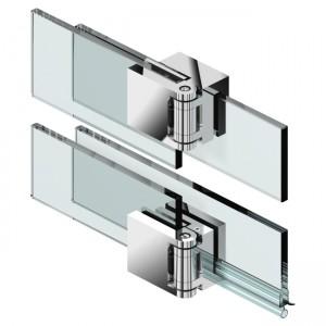 Duschturband-Paar, Glas-Glas 180°, uberlappend, 180° nach aussen hin offnend, Nulllage ±6° einstellbar, fur die Verbauung ohne Schwallschutz, fur 6-8mm Glasstarke