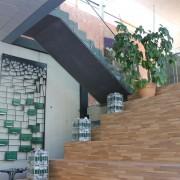 Treppengelander mit Punkthaltern und Handlauf l Glas VSG 17,52 mm